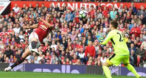 Manchester United striker Zlatan Ibrahimovic shoots over the bar against Leicester City at Old Trafford. Photograph: Anthony Devlin/AFP Photo