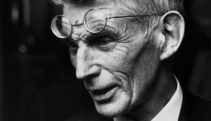 Samuel Beckett  (1906-1989) at a first night performance. 'I am not long for this world. No great loss.' Photograph: Hulton Getty