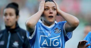 Dublin's Sinead Goldrick dejected after the TG4 Ladies Senior All-Ireland Championship Final at Croke Park. Photo: Inpho