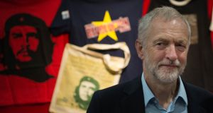 Jeremy Corbyn in front of Che Guevara merchandise at the Labour  conference. Photograph: Stefan Rousseau/PA