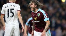 Burnley's Jeff Hendrick celebrates scoring the first goal in their Premier League win over Watford. Photo: Scott Heppell/Reuters