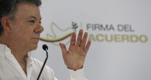 "Colombian president Juan Manuel Santos said the Northern Ireland peace process was the ""inspiration"" behind a historic agreement which is due bring an end to 52 years of civil war. Photograph: Christian Escobar Mora/EPA"