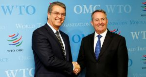 Roberto Azevedo (left), Director-General of the World Trade Organization (WTO), greets Britain's International Trade Secretary Liam Fox (right) before a meeting in Geneva, Switzerland. Photograph: Pierre Albouy/Reuters