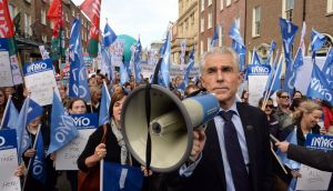 General secretary of the Irish Nurses and Midwives Organisation Liam Doran outside Leinster House. Photograph: Eric Luke
