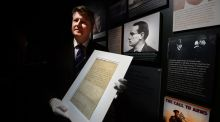 Stuart Cole of James  Adam and Sons at the GPO Witness History museum with the Patrick Pearse letter of surrender. Photograph: Cyril Byrne