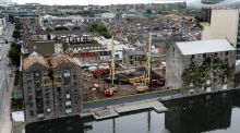 Boland's Mills roof restoration has started in Dublin's Docklands. Photograph: Cyril Byrne