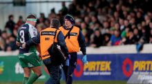 Nathan White departs the field against Leinster last March. Photograph: James Crombie/Inpho