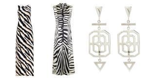 Go wild with this animal-print maxi dress (left) for €42 from wallisfashion.com or find your inner fashionista in this Irving midi dressfor £295 straight from the London Fashion week Unique by Topshop Catwalk. Pair with these Grand Deco silver earrings by Natasha Sherling