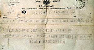 The telegram sent on the day of Derek Cragg's  rescue, April 26th, 1945