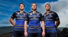 Robbie Henshaw, Seán O'Brien and Rob Kearney model Leinster's new kit. Photograph:  Stephen McCarthy/Sportsfile