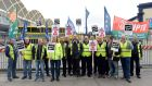"Dublin Bus workers on the picket line at Donnybrook bus depot. WRC director general Oonagh Buckley said while there had been ""an uptick in the levels of industrial action"", this was coming from ""an extraordinarily low base"".  Photograph: Eric Luke."
