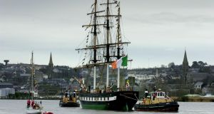 The replica emigrant sailing ship the Dunbrody in New Ross Co Wexford after her launching yesterday. PHOTOGRAPH - FRANK MILLER 11.2.01 The replica emigrant sailing ship the Dunbrody in New Ross Co Wexford after her launching yesterday. PHOTOGRAPH - FRANK MILLER 11.2.01