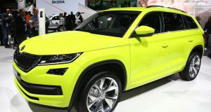 Skoda's new seven-seat Kodiaq family crossover, in a green hue that's unlikely to win many fans