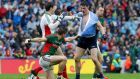 Mayo's Lee Keegan and Dublin's Diarmuid Connolly during the drawn All-Ireland final. Photograph: Inpho