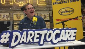 Tattoo you: Good sport Ian Dempsey promote's Today FM's  Dare to Care charity campaign.
