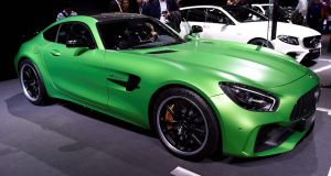 The Mercedes-AMG GT Roadster at the Paris Motor Show in France. Photograph: Miguel Medina/AFP/Getty Images