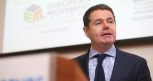 Minister for Public Expenditure and  Reform Paschal Donohoe speaks at a major international investment conference on priority capital investment areas for Ireland on Friday. More than 120 senior business and other delegates from diverse sectors in attendance to hear and engage with speakers from government, the EIB, the European Commission, and key national experts from the housing, energy and investment sectors.