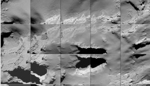 A composite handout image released by the European Space Agency (ESA)  shows a sequence of images captured by Rosetta during its final descent to the surface of Comet 67P/C-G on Friday.  Photograph: EPA/ESA