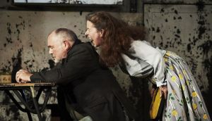 John Olohan as Himself and Bríd Ní Neachtain as Maisie in 'The Remains of Maisie Duggan' by Carmel Winters, directed by Ellen McDougall at the  Abbey Theatre as part of Dublin Theatre Festival. Photograph: Ros Kavanagh