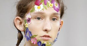 Rose petals, forget-me-nots, cornflowers and daisies as seen on faces at Preen's SS17 show at London Fashion Week. Photograph: Estrop/Getty