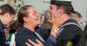 CORK HOMECOMING: Majella O'Sullivan welcomes her son Lloyd home from a tour of duty in the Mediterranean on the LÉ James Joyce. Photograph: Michael Mac Sweeney/Provision