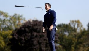 Rory McIlroy and Andy Sullivan were edged out by Phil Mickelson and Rickie Fowler in a seesaw foursomes clash. Photograph: Getty