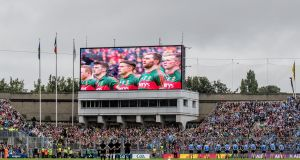 The national anthem is played ahead of the drawn All-Ireland football final in September. Photograph: James Crombie/Inpho
