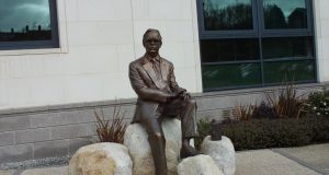 Statue of Frank Pantridge outside Lisburn City Hall. He was born 100 years ago on October 3rd.