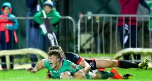 Peter Robb scores Connacht's fourh try in their bonus point win over Edinburgh at the Sportsground. Photograph: InphoJames Crombie