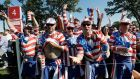 Partisan US fans cheer during the four balls on the first day of the Ryder Cup at Hazeltine National Golf Club on Friday. Photograph: David J Phillip/Inpho.