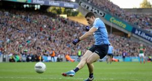 Dublin's Diarmuid Connolly fires home a second-half penalty in the All-Ireland SFC Final replay against Mayo at Croke Park. Photograph:  Ryan Byrne/Inpho