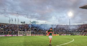 Mayo's Aidan O'Shea walks away from Hill 16 after the game. Photo: James Crombie/Inpho