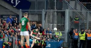Mayo's Cillian O'Connor misses a late free to level the score. Photo: Ryan Byrne/Inpho