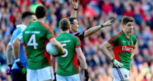 Mayo's Lee Keegan black carded by referee Maurice Deegan. Photograph: James Crombie/Inpho