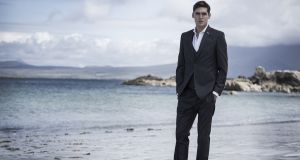 Italian wool blue suit jacket, €80, trousers, €45; shirt, €13;  shoes, €16. Photograph: Lee Malone