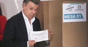 Colombia's president Juan Manuel Santos: by putting himself and Farc commander-in-chief Timochenko front and centre of the agreement he alienated as many voters as he attracted. Photograph:  Mario Tama/Getty Images
