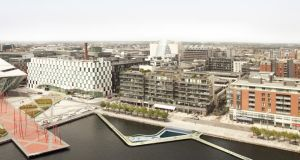 CGI of an urban baths project at Grand Canal Dock prepared by architects Urban Agency