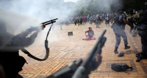 A student is seen during clashes with South African police at Johannesburg's University of the Witwatersrand, South Africa on Tuesday. Photograph: Siphiwe Sibeko/Reuters