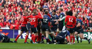 Tempers flare during the 2009 Heineken Cup semi-final at Croke Park. Photo: Inpho