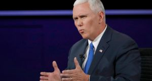 Republican US vice presidential nominee Governor Mike Pence speaks during the TV debate on Tuesday. Photograph: Kevin Lamarque/Reuters