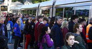 Luas customers are facing delays on Wednesday morning following a power outage and the Sandyford depot. Photograph: Cyril Byrne / The Irish Times / File photo