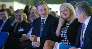 Taoiseach Enda Kenny and Minister for Jobs, Enterprise and Innovation Mary Mitchell O'Connor at the launch of International Markets Week at the RDS on Wednesday. Photograph: Eric Luke