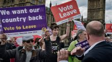 "Demonstrators  supporting Brexit: ""Research shows a majority of British CEOs are  assessing the possibility of relocating their headquarters  outside the UK."" Photograph: Adam Ferguson/The New York Times"
