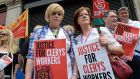Clerys workers Emily McDermott  and her daughter Nathania, from Donaghmede , at a  demonstration in support of Clerys workers on O'Connell Street, Dublin, last year
