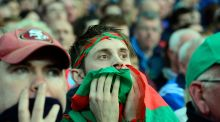 Mayo fans show their tension near the end of the replayed All-Ireland final at Croke Park. Photograph: Cyril Byrne