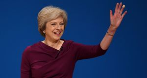 British prime minister Theresa May delivering her keynote speech to the Conservative party conference in Birmingham. Photograph: PA