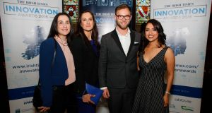 Elisa Vecchio, Ann Marie Vecchio, Lukas Deckar, Jessica Oliva of Coindrum, winner of the New Frontiers category