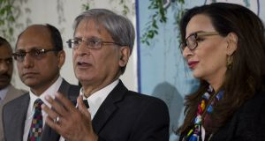 Aitzaz Ahsan (centre), a Pakistani politician of the People's party, who moved a  Bill in parliament against honour killings which has been passed. Photograph: BK Bangash/AP Photo