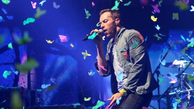 Chris Martin of Coldplay performs at the Glastonbury Festival at Worthy Farm, Pilton in 2011. A spokesman for MCD said there is currently no second date planned, despite the band announcing second dates in Brussels, Gothenburg, Cariff and Paris this morning. Photograph: Dave Hogan/Getty Images