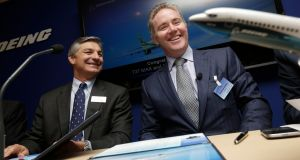 "Dómhnal Slattery, chief executive officer of Avolon (right): ""We are delighted to announce an agreement to acquire the CIT aircraft-leasing platform."" Photograph: Matthew Lloyd/Bloomberg"